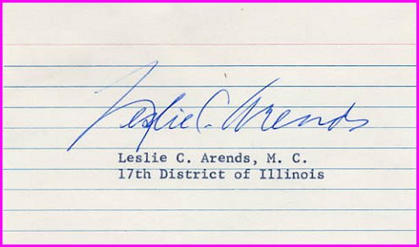 Illinois Politician LESLIE C. ARENDS Hand Signed Card  from 1970s