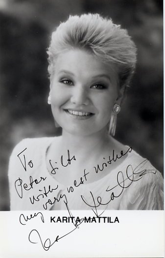 Finnish Soprano KARITA MATTILA Hand Signed Photo 1994
