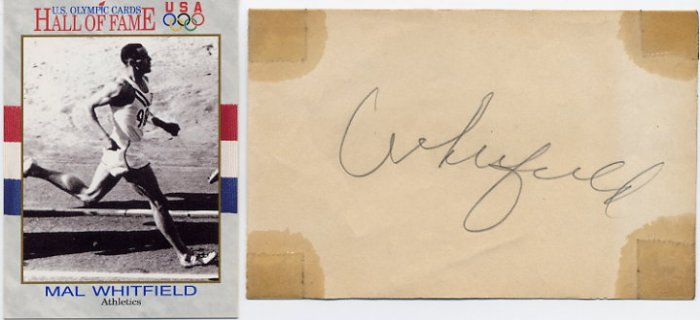 1948-1952 800 m Gold MALVIN WHITFIELD Autograph 1952 & Olympic Card