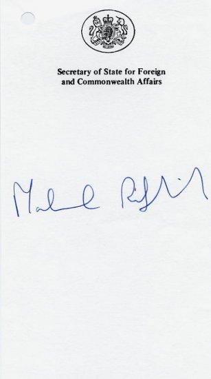 British Conservative Politician MALCOLM RIFKIND Autograph 1995