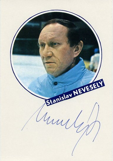 Czech Ice Hockey Coach STANISLAV NEVESELY  Autographed Card 1980s