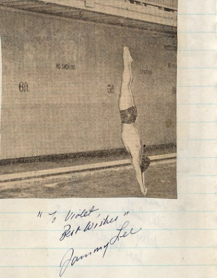 1948-52 Diving Champion SAMMY LEE Signed Scrapbook Page 1951