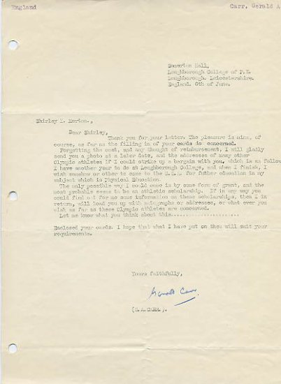 1956 Melbourne Discus Olympian GERALD CARR Typed  Letter Signed 1950s