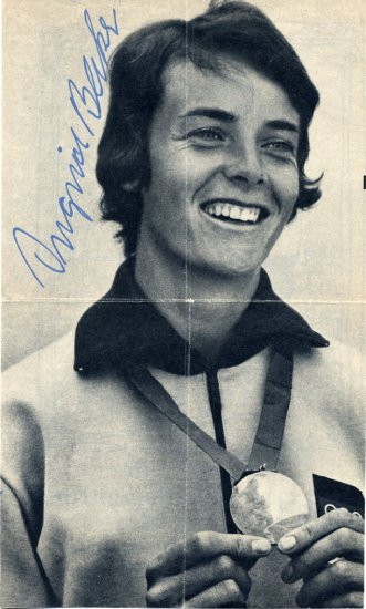 1968 Mexico City Pentathlon Gold INGRID BECKER Autographed Picture 1970s
