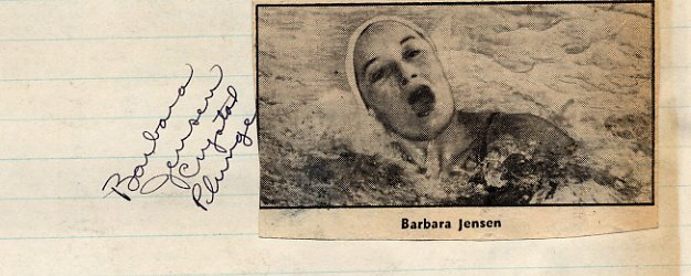 1948 Swimming Olympian BARBARA JENSEN Autograph from 1949
