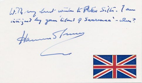 British Author RALPH HAMMOND INNES Autograph Note Signed from 1995