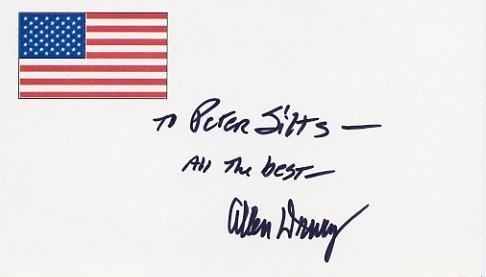 Pulitzer Prize Novelist ALLEN DRURY Autographed Card