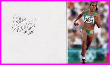 2000 Sydney  400m Gold CATHY FREEMAN Autograph 1996 & Pict