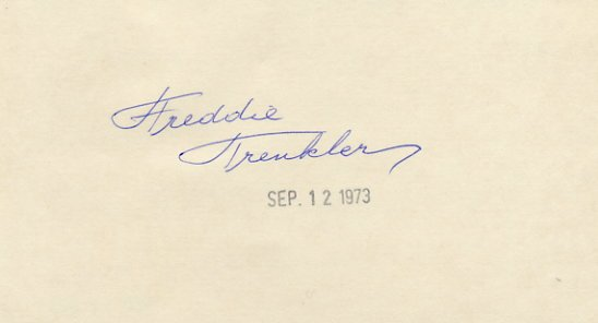 Comic Ice Skater FREDDIE TRENKLER Hand Signed Card  '73