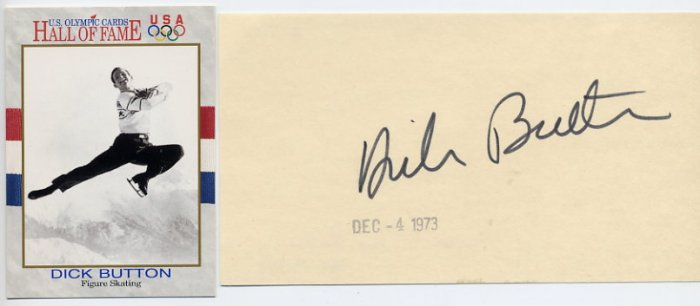 1948 & 1952 Figure Skating Gold DICK BUTTON Autographed Card 1973