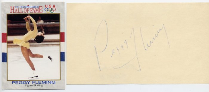 1968 Grenoble Figure Skating Gold PEGGY FLEMING Autographed Card 1973
