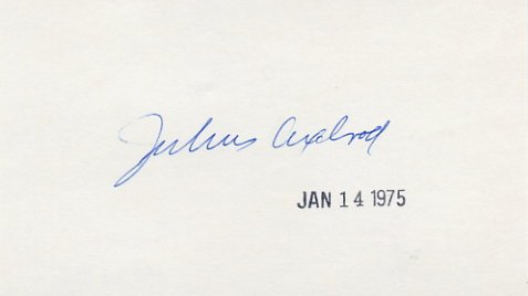 1970 Nobel Medicine JULIUS AXELROD Autographed Card  '75