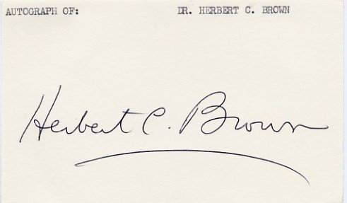 1979 Nobel Chemistry HERBERT BROWN  Autographed Card 1980