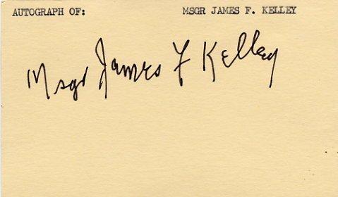 1936-49 Seton Hall President JAMES F KELLEY Hand Signed Card