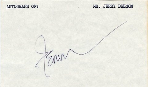Writer, Director & Producer  JERRY BELSON Hand Signed Card 1970s