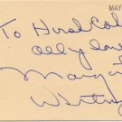 American Singer MARGARET WHITING  Autographed Card  1980