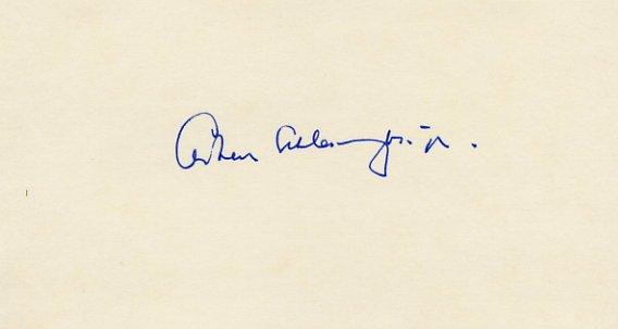 Pulitzer Prize Writer & Historian ARTHUR SCHLESINGER, Jr Autographed Card