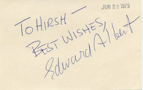American Film & TV Actor EDWARD ALBERT  Autographed Card 1975