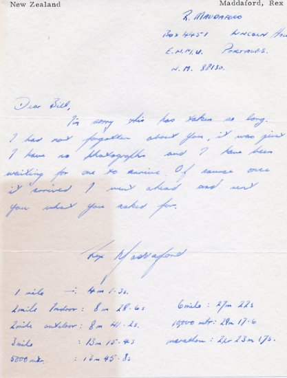 1968 Mexico City 5000m & 10000m Olympian REX MADDAFORD Autograph Letter Signed 1960s