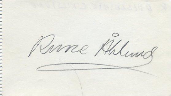 1956 Melbourne 5000m & 10000m Olympian RUNE AHLUND Autograph 1950s