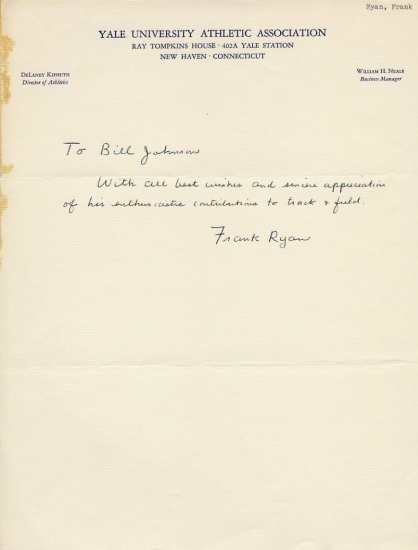 1938 US Shot Put Champion FRANK RYAN Autograph Letter Signed