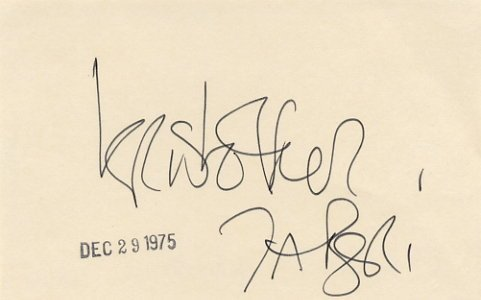 American Actor & Director KRISTOFFER TABORI Autographed Card 1975