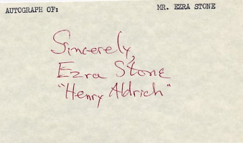 American Director & Actor EZRA STONE Autographed Card from 1980