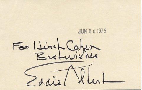 American Actor  EDDIE  ALBERT  Autographed Card 1975