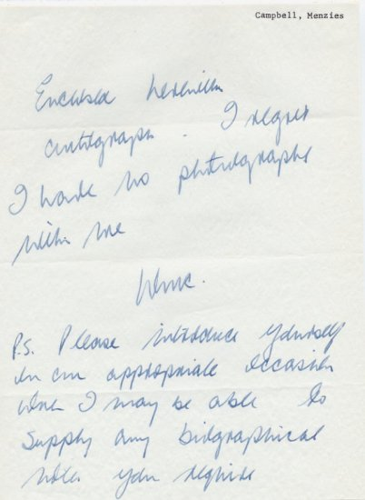 1964 Tokyo 200m Olympian MENZIES CAMPBELL Autograph Letter Signed 1960s