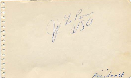 1950s Top 1500m/Mile Runner JOSEPH La PIERRE Autograph 1950s