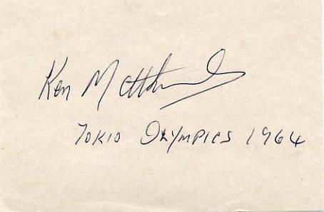 1964 Tokyo 20km Walk Gold KEN MATTHEWS  Autograph