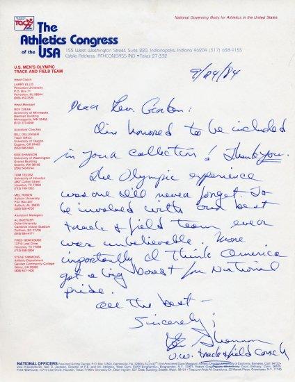 Legendary University of Washington Head Track Coach KEN SHANNON  Autograph Letter Signed 1984