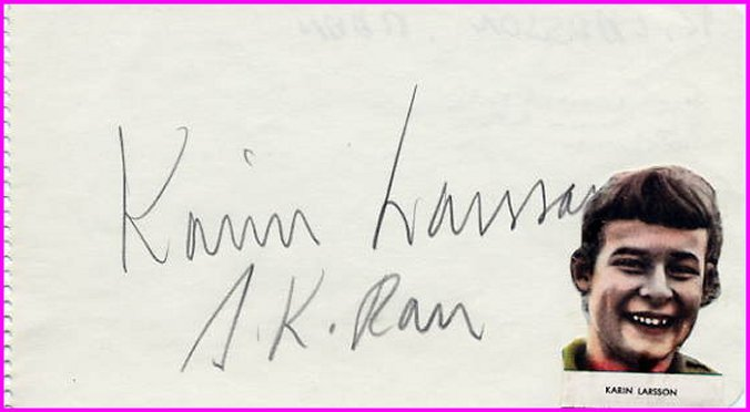 1956 Melbourne & 1960 Rome Swimming Olympian KARIN LARSSON  Autograph 1950s