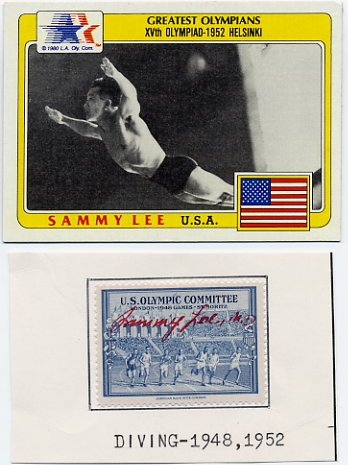 1948 London & 1952 Helsinki Diving Champion SAMMY LEE Signed Stamp 1948 & Olympic Card