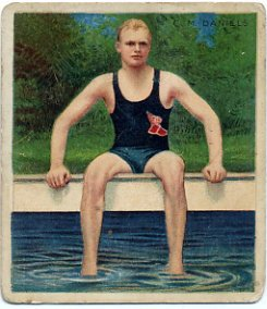 1904-08 Swimming Five-Time Olympic Champion CHARLES DANIELS Mecca Card 1910