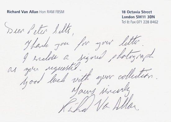 Distinguished English Bass RICHARD VAN ALLAN Autograph Note Signed 4x6