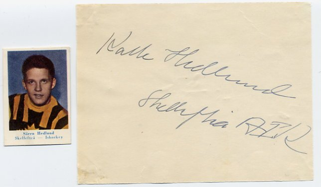 Sweden - 1958 Ice Hockey World Championships Bronze KARL SOREN HEDLUND  Autograph 1950s