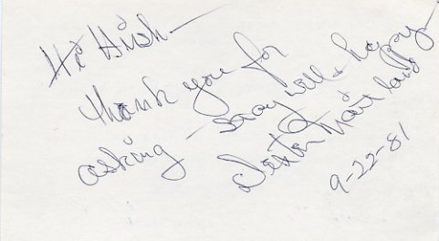 Broadway Comedian DEXTER MAITLAND Autographed Card 1981