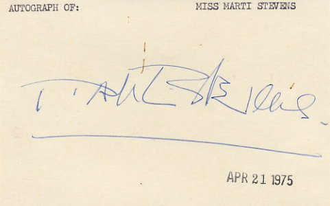 Cabaret - Actress & Singer MARTI STEVENS Autographed Card 1975