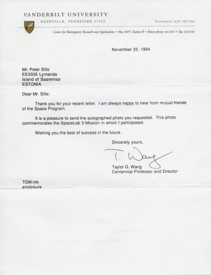 American Astronaut & Physicist TAYLOR WANG Typed Letter Signed 1994