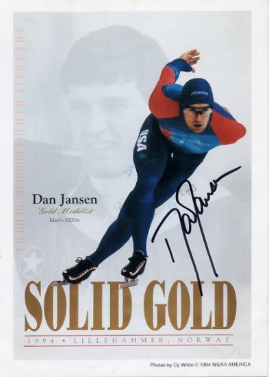 1994 Lillehammer Speed Skating Gold DAN JANSEN Signed Photo 5x7