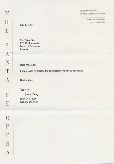 Conductor & Santa Fe Opera JOHN CROSBY Typed Letter Signed 1995