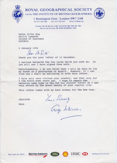 British Politician GEORGE JELLICOE Typed Letter Signed 1996