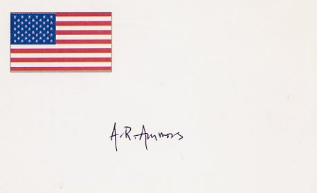 American Poet A R AMMONS  Autographed Card