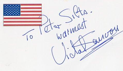 World-Famous Hair Stylist VIDAL SASSOON Hand Signed Card
