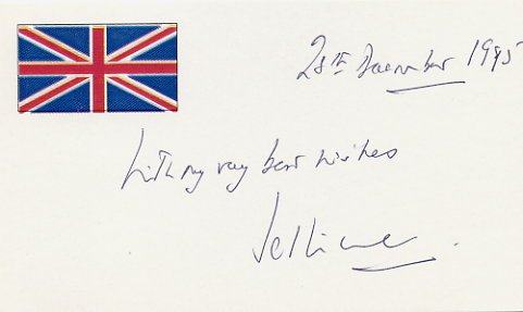 British Politician GEORGE JELLICOE Hand Signed Card 1995