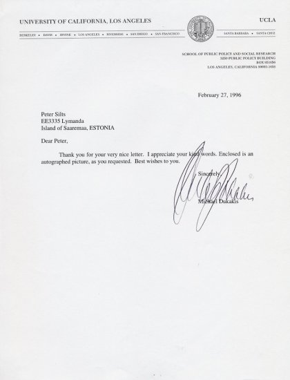 1988 Presidential Candidate MICHAEL DUKAKIS Typed Letter Signed 1996