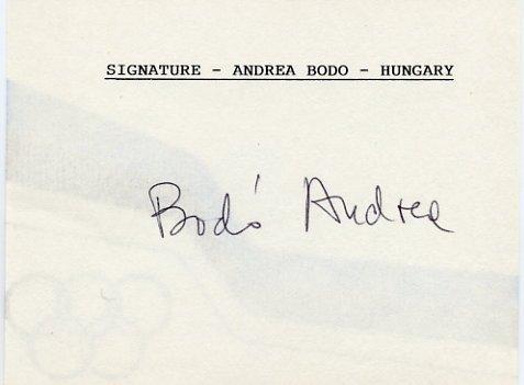 1956 Melbourne Gymnastics Gold ANDREA BODO Autographed Card