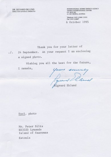 Swedish Nuclear Scientist SIGVARD EKLUND Typed Letter Signed 1995