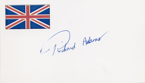 English Novelist RICHARD ADAMS Autographed Card